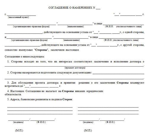 Договор о намерениях купли продажи квартиры (образец)
