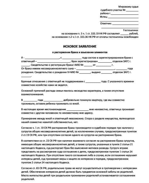 Исковое заявление о расторжении брака и взыскании алиментов (образец) 2019