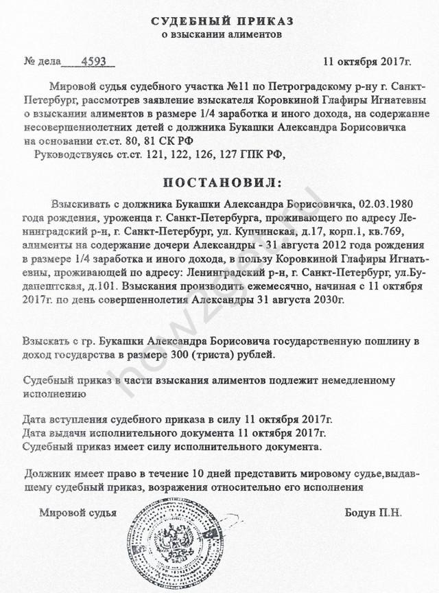 Судебный приказ о взыскании алиментов (образец)