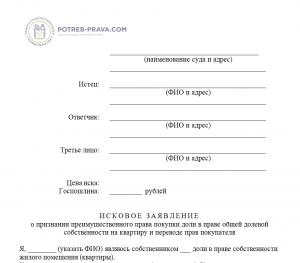 Уведомление о продаже доли в квартире в праве общей долевой собственности (образец) 2019